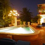 the pool deck in the evening.