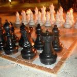 El tablero enorme de ajedrez del jardín,..se podía jugar!!!
