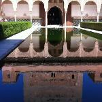 reflection on water within one of the palaces