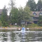 kayaking back to waters edge
