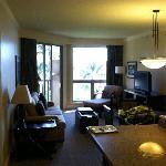 Living room/kitchen in one-bedroom villa