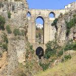 Ronda bridge from the bottom of the gorge