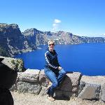 Me in front of Crater Lake. it really is that blue!