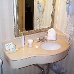 one sink in bathroom, no shaving mirror, no fan