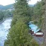 Cabins and river from hwy 2 bridge.