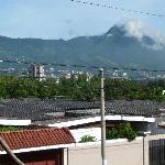 San Salvador city and Volcano view from balcony