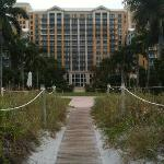 Boardwalk from Beach to Hotel