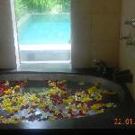 Decorated bathtub and private pool outside