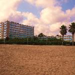 hotel from beach at end of a day on the beach