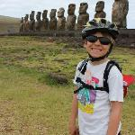 our son on our bike ride to Tongariki