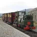 Diesel loco and train waiting to tour the site