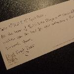 The nice note from the hotel