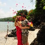 One of our happy couples getting married at our private beach