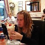 Shannon with her knickerbocker Glory