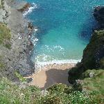 View from one of the coastal walks looking down at the beautiful blue sea.
