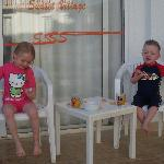 my son and his wee friend he made, on the balcony