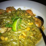 prawn curry with spinach pasta
