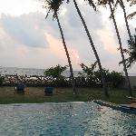 View of pool towards beach
