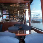 This is a picture from inside the boat of the stocked bar.