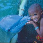 Our son with the dolphin.