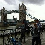 Taking a break and enjoying the view of the Tower Bridge