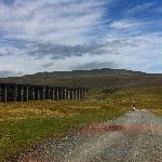 The ribblehead viaduct with Whernside in the distance, the view from the path next to the statio