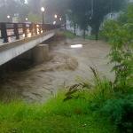 River across from inn during the hurricane