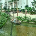 Raft taking people around the hotel