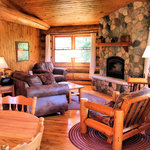 Stone fireplace in living room, Cabin 9