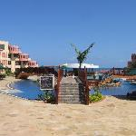 the resort is u shapped with all the rooms facing the ocean giving one a very magnificient view