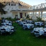 tables set up on the lawn prior to event