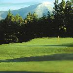 A spectacular view of Whiteface Mountain greets you as you approach the green at the 10th hole o