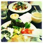 Hummus, eggs, pesto, asparagus goodness...