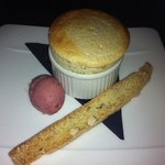 Hazelnut Soufle with Biscotti and red grape sorbet
