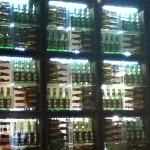 Interesting display of beer bottles between walls