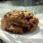 the famous white chocolate and mixed fruit scone