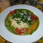 crab, spinach, on linguini