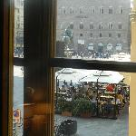 Looking out window to Piazza della Signoria