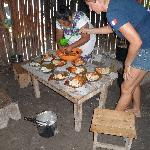 le repas dans la famille maya à coba.