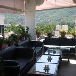 rooftop restaurant with flatscreen tv for Bollywood films!