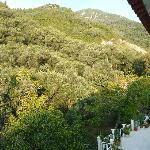 Blick vom Balkon in die Berge