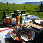 The feast, Arran in the background, already under assault