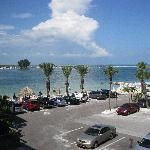 View from room across car park to Sand Key