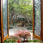 Morning view of the courtyard through the lobby window.