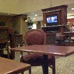 Part of the game/TV/Breakfast area, and front desk
