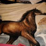 the horse blanket decorating the room