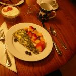 Breakfast brought to our room - spinach fritatta, free fruit and juice, yogurt and homemade pump
