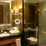 enclosed toilet & shower area