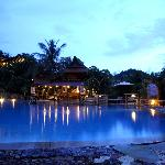 Big swimming pool and pool bar