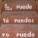 The stairs with the verbs at the entrance
